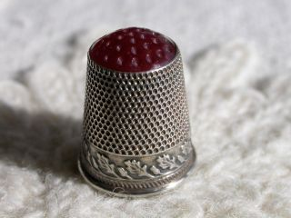 Lovely Antique Silver Child ' S Thimble With Carnelian Top Germany C 1900 photo