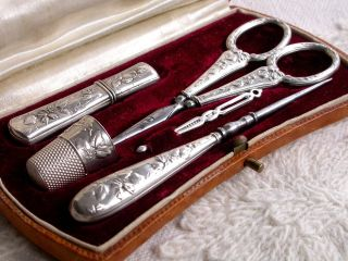 Splendid Antique Silver Sewing Necessaire In Rare Art Deco Case France C1920 photo
