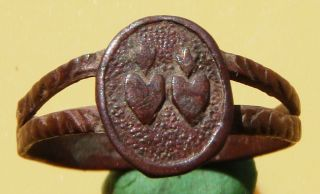 Vintage Ring Two Hearts 19th Century photo