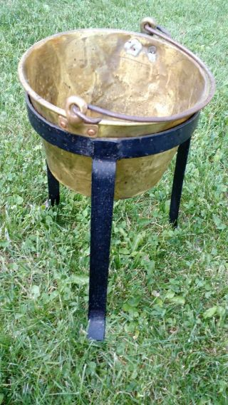 Vintage Apple Butter Jam Brass Copper Pot Bucket Planter W Castiron Base & Tools photo