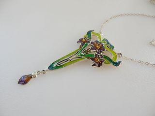 Art Nouveau Sterling Silver & Iridescent Enameled Flower Necklace photo