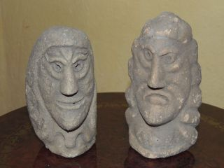 Ancient Couple Of Maori Carved Statuette,  Zeland,  Papuasia,  Ancient Artefact photo