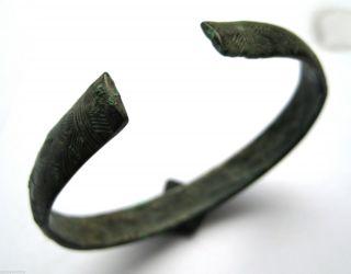 Circa.  500 B.  C British Found Late Bronze Age Celtic Bronze Penannular Wrist Torc photo