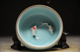 Chinese Porcelain Handmade Lovey 2 Goldfish Cup photo