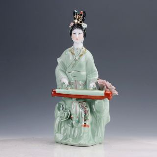 Chinese Famille Rose Porcelain Hand Painted Gril Statue D819 photo