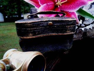 Antique Jumelle Carpentier Pearl Opera Glasses - Mop Brass - Case - Paris 1800s photo