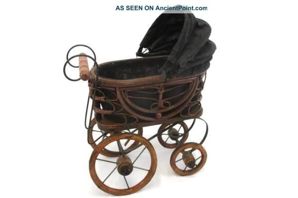Vintage Antique Victorian Doll Pram Baby Carriage Wood & Metal Decor Baby Carriages & Buggies photo