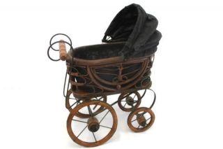 Vintage Antique Victorian Doll Pram Baby Carriage Wood & Metal Decor photo