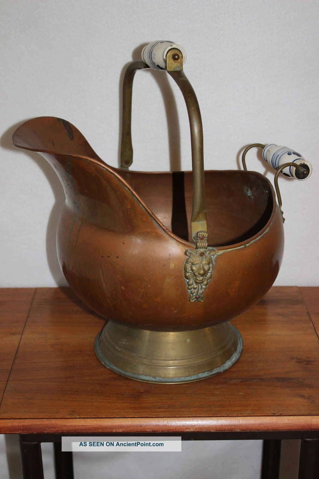 Antique Large Fireplace Ash Bucket / Coal Skuttle Copper Brass Hearth Ware Tool Hearth Ware photo