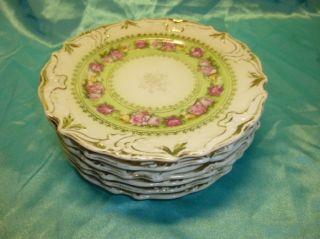 Antique French Old Paris Porcelain Six (6) Dessert Plates photo