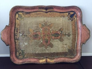 Vintage Italian Florentine Pink Gold Resin Molded Hand Painted Tray Display photo