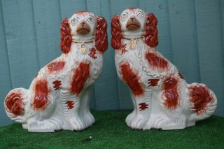 Pair Mid 19thc Large Staffordshire Russet Red & White Spaniel Dogs C1860s photo