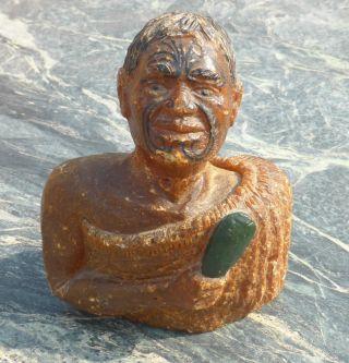 Fine Antique Zealand Carved Kauri Gum Head Bust No Tiki Taiaha Fiji Ula Club photo