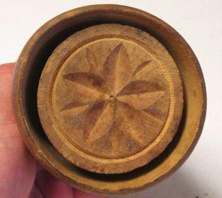 Primitive Carved Wood Flower Butter Stamp Print Press Mold,  Aafa Nr photo