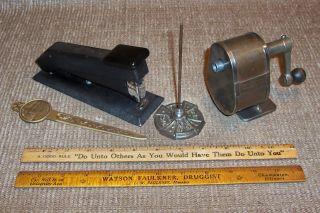6 Old School Tools Pencil Sharpenter Stapler Ruler Primitive Antique Office photo