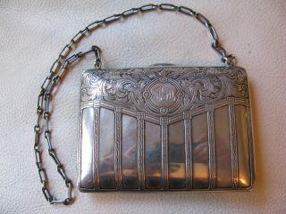 Antique Victorian Art Nouveau Floral Sterling Silver Card Case Coin Purse Pjd 1 photo