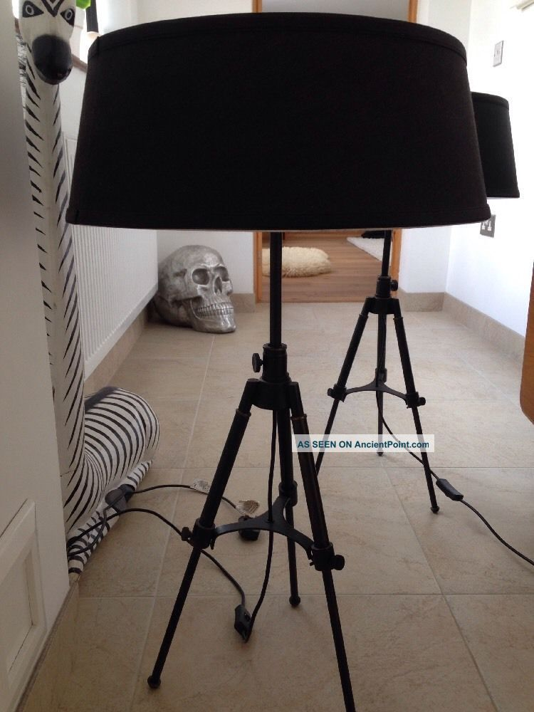 2 Vintage Style Industrial Floor/table Lamps Tripod Film Rvs Metal Adjustable 20th Century photo