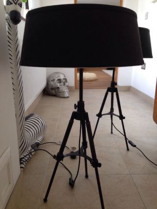 2 Vintage Style Industrial Floor/table Lamps Tripod Film Rvs Metal Adjustable photo