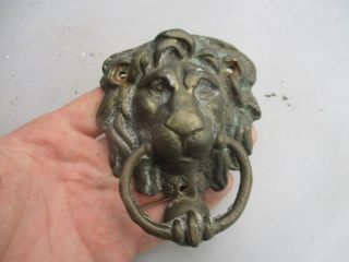 Vintage Brass Door Knocker Lions Head Architectural Salvage Old Strike Plate  Photo