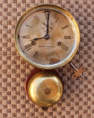 Antique Nautical Maritime Outside Bell Strike Brass Seth Thomas Ships Clock photo