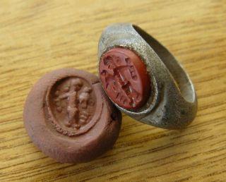 Ancient Roman Silver And Jasper Intaglio Ring,  1nd - 2rd Century Ad. photo