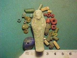 30,  Ancient Beads Circa 1000 Bc - 700 Ad,  Egyptian Faience Shabti Amulet photo