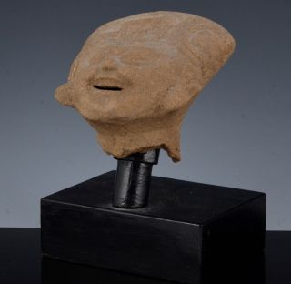 Early Pre - Columbian Mayan Or Aztec Terracotta Head Figural Bust photo