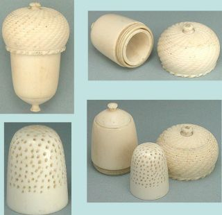 Antique Carved Bone Thimble Acorn & Child ' S Thimble French Circa 1820 photo