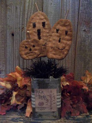 Handmade Halloween Decoration - Primitive Jack - O - Lanterns In Vintage Cocoa Tin photo