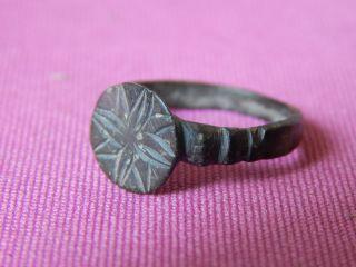 Ancient Rome,  Bronze Ring,  2 - 5 Century,  Star On Bezel photo