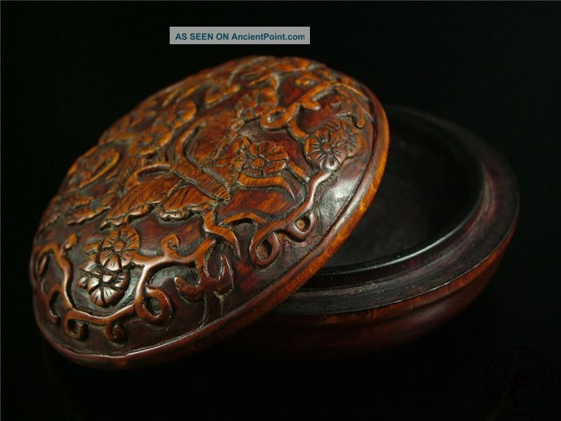 Antique Old Chinese Rosewood Carved Inkpad Box Butterffly & Flower Patterns Boxes photo