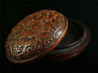 Antique Old Chinese Rosewood Carved Inkpad Box Butterffly & Flower Patterns photo