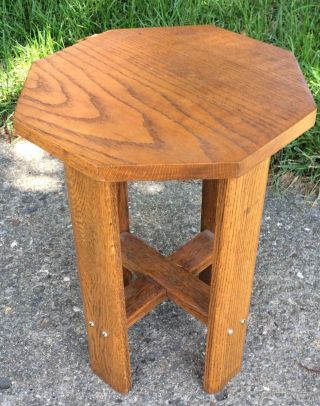 Antique Arts Crafts Mission Oak Plant Fern Stand Lamp Side Accent Table Hexagon photo