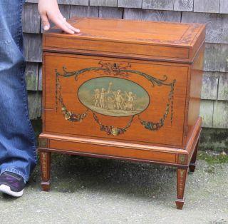 Classic Sheraton,  Hand Painted Satinwood Veneer,  Mahogany Sugar Chest,  Nr photo