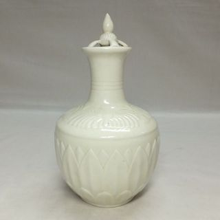 A439: Chinese White Porcelain Ware Vase With Good Tone And Relief Work photo