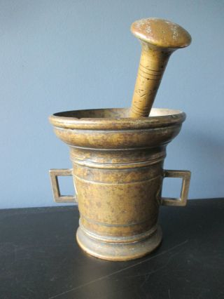 Antique Large Bronze 18th Century South European Apothecary Pestle And Mortar photo