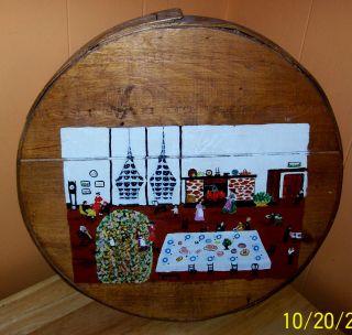 Hand Painted Folk Art On Wood Basket Lid Christmas Holiday Scene photo