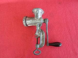 Antique Enterprise No.  5 Tinned Cast Iron Hand Crank Meat Grinder Food Chopper photo