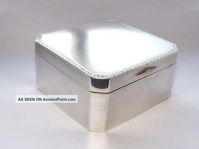 Vintage Art Deco Hm Solid Silver Sterling & Gold Cigarette Cigar Box B/ham 1929 Boxes photo