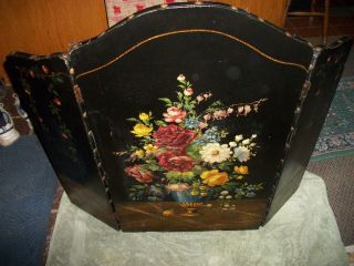 Antique Canvas Floral Painted Fire Place Screen Cover photo