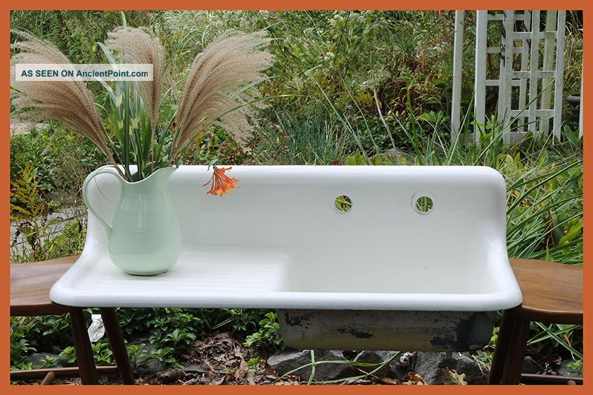 1926 Antique Vintage Farmhouse Farm Sink With Drainboard (42 Inch) Sinks photo