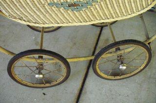 Antique Lloyd Loom Beige Wicker Baby Carriage photo