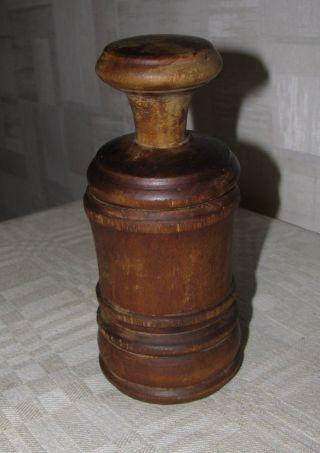 Antique Primitive Wooden Wood Pepper Mill Grinder Lithuania Europe 1800 2 photo