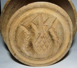 Farm Antique 1800s Wooden Butter Mold Press Of Pineapple And Leaves photo