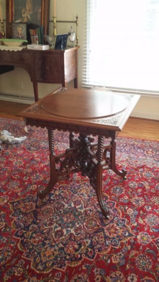 Carved Solid Walnut Eastlake Table / Parlor Table One Of A Kind.  Estate Item. photo