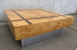 Milo Baughman Burl Wood Square Coffee Table Mid Century Modern Thayer Coggin photo