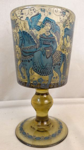 Antique German Old Bohemian Painted Lady On Horse Man & Dog Wine Goblet Glass photo