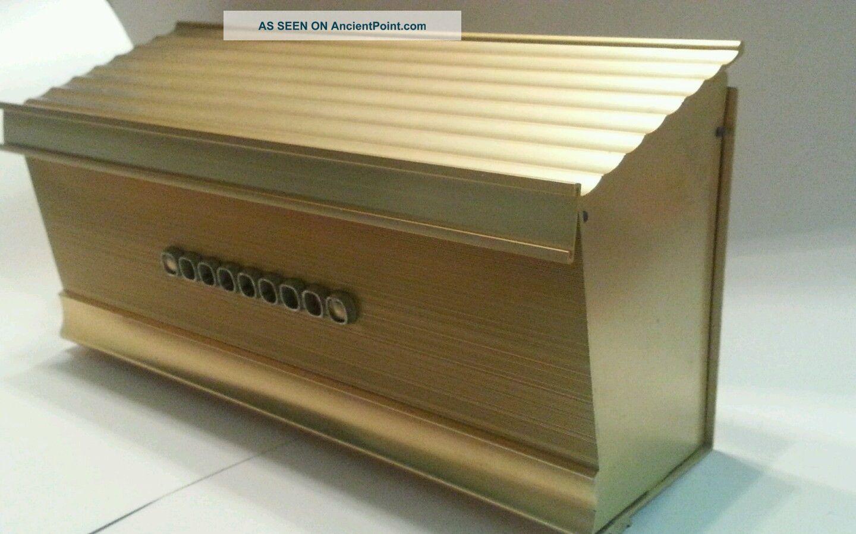 Mid Century Modern Mailbox Gold Ridges Solid Metal Vgc
