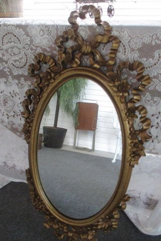Vintage Hollywood Regency Mid Century Syroco Style Gold Wall Mirror Gorgeous photo