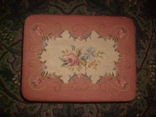 Antique Wood Foot Stool Needlepoint Top Flowers Empire Style Mahogany photo